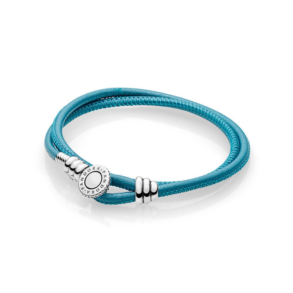 pandora bracciale pelle azzurro