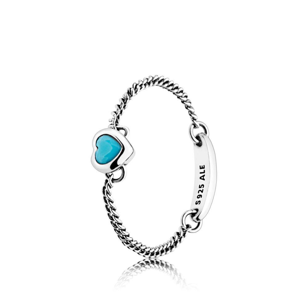 pandora anello cuore blu