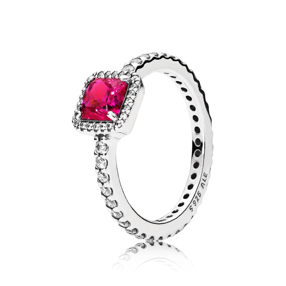 anello in argento con cuore rosso pandora